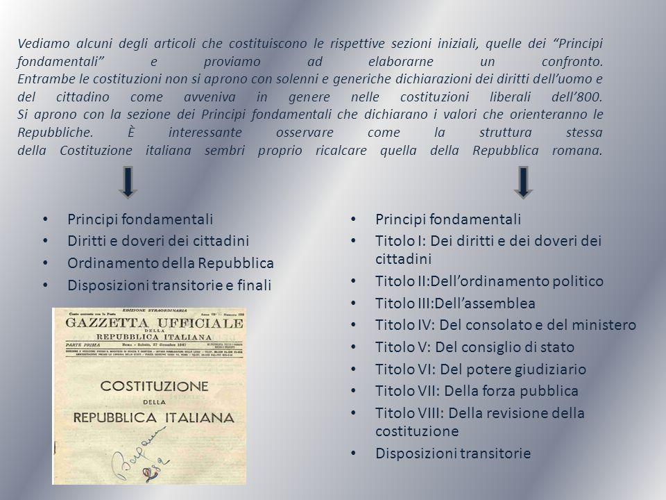 Principi fondamentali Diritti e doveri dei cittadini