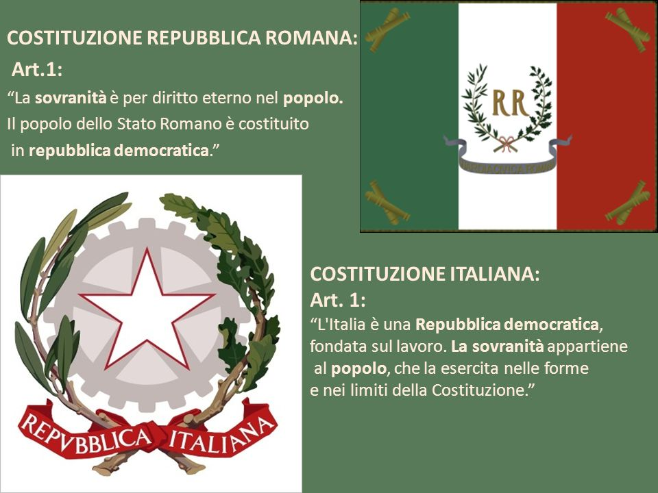 COSTITUZIONE REPUBBLICA ROMANA: Art.1: