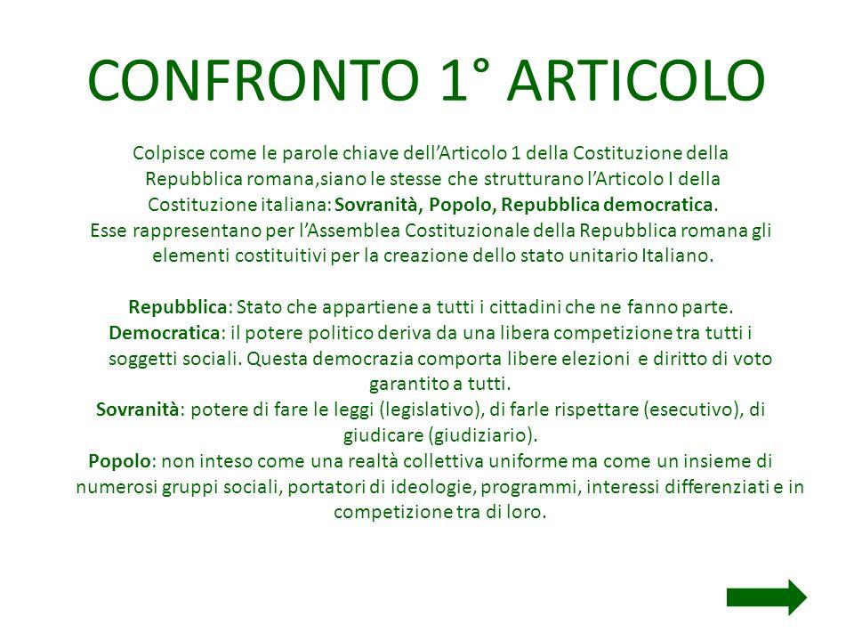 CONFRONTO 1° ARTICOLO Colpisce come le parole chiave dell'Articolo 1 della Costituzione della.