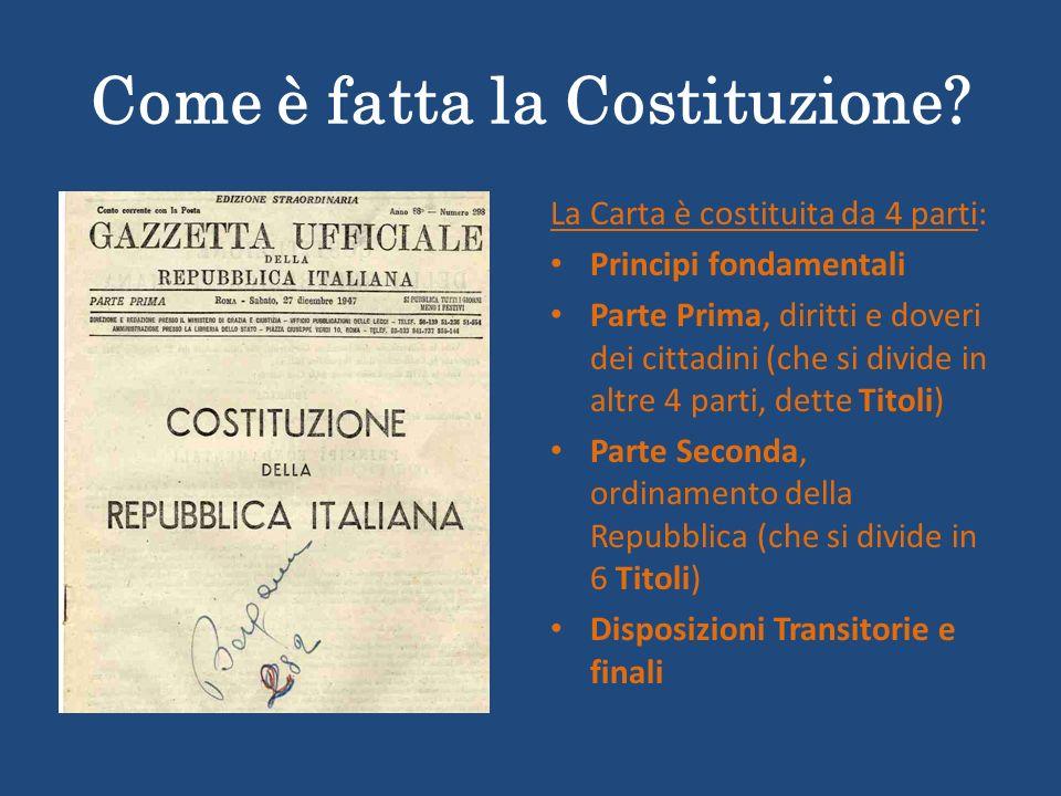 Come è fatta la Costituzione