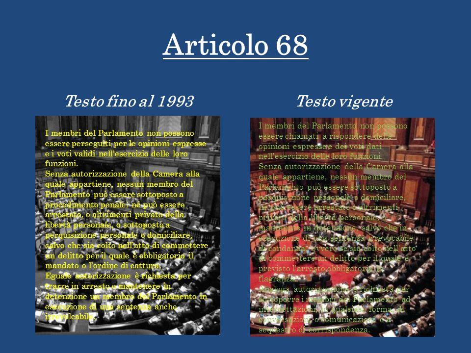 Articolo 68 Testo fino al 1993 Testo vigente