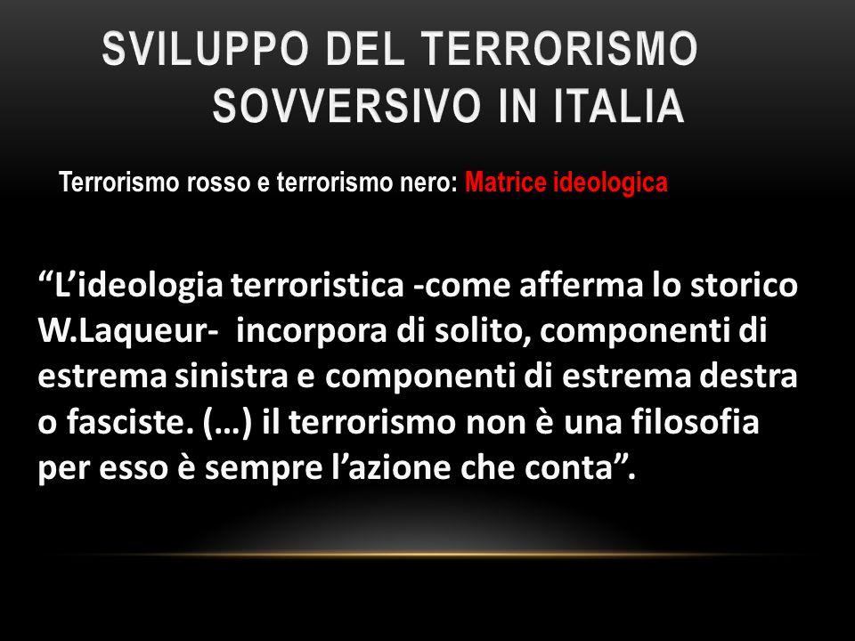 SVILUPPO DEL TERRORISMO SOVVERSIVO IN ITALIA