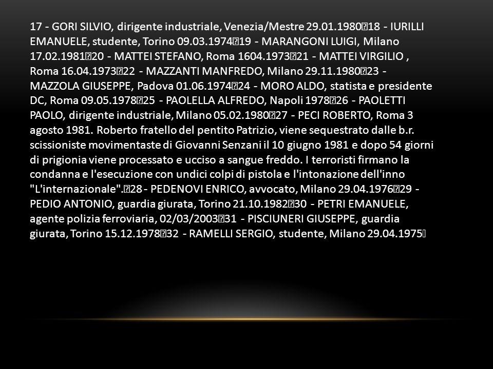 17 - GORI SILVIO, dirigente industriale, Venezia/Mestre 29. 01