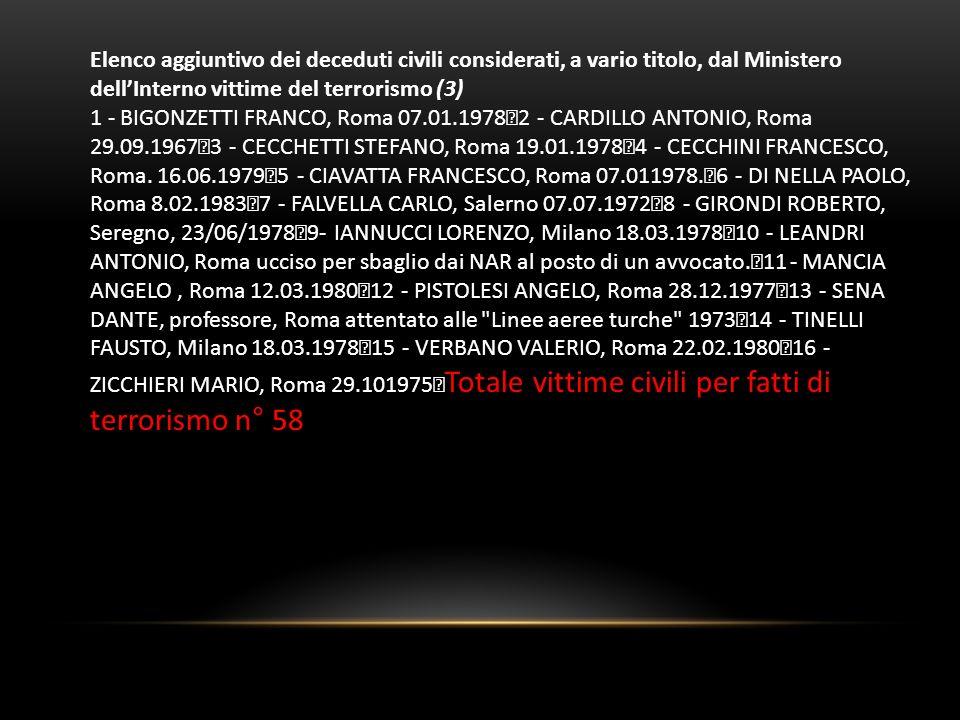 Elenco aggiuntivo dei deceduti civili considerati, a vario titolo, dal Ministero dell'Interno vittime del terrorismo (3)