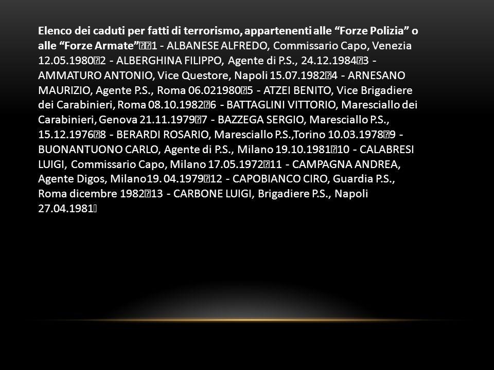 Elenco dei caduti per fatti di terrorismo, appartenenti alle Forze Polizia o alle Forze Armate 1 - ALBANESE ALFREDO, Commissario Capo, Venezia 12.05.1980 2 - ALBERGHINA FILIPPO, Agente di P.S., 24.12.1984 3 - AMMATURO ANTONIO, Vice Questore, Napoli 15.07.1982 4 - ARNESANO MAURIZIO, Agente P.S., Roma 06.021980 5 - ATZEI BENITO, Vice Brigadiere dei Carabinieri, Roma 08.10.1982 6 - BATTAGLINI VITTORIO, Maresciallo dei Carabinieri, Genova 21.11.1979 7 - BAZZEGA SERGIO, Maresciallo P.S., 15.12.1976 8 - BERARDI ROSARIO, Maresciallo P.S.,Torino 10.03.1978 9 - BUONANTUONO CARLO, Agente di P.S., Milano 19.10.1981 10 - CALABRESI LUIGI, Commissario Capo, Milano 17.05.1972 11 - CAMPAGNA ANDREA, Agente Digos, Milano19.