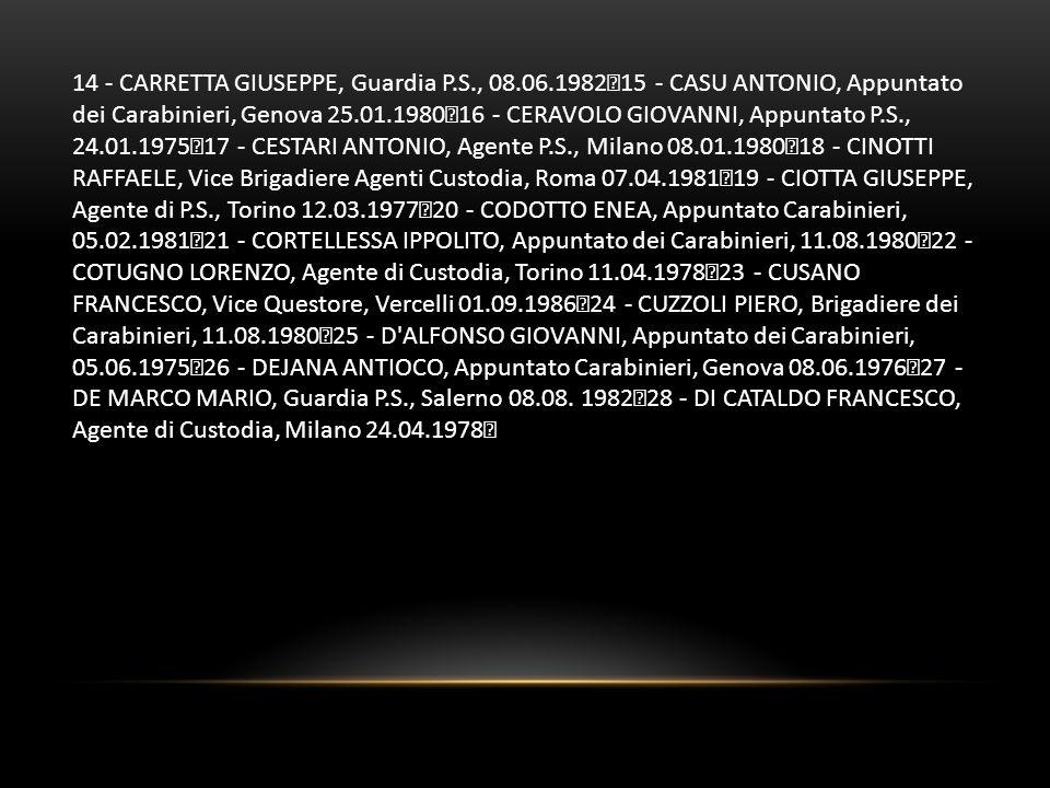 14 - CARRETTA GIUSEPPE, Guardia P. S. , 08. 06