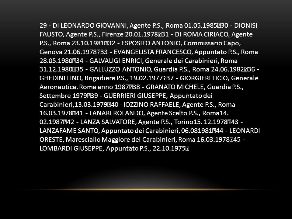 29 - DI LEONARDO GIOVANNI, Agente P. S. , Roma 01. 05