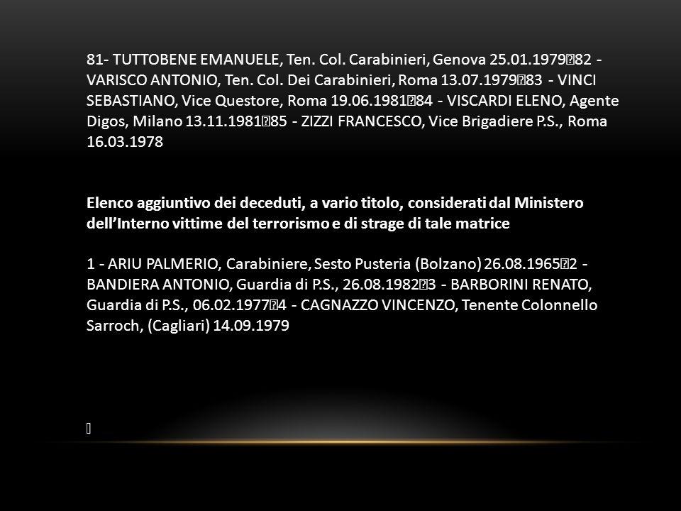 81- TUTTOBENE EMANUELE, Ten. Col. Carabinieri, Genova 25. 01
