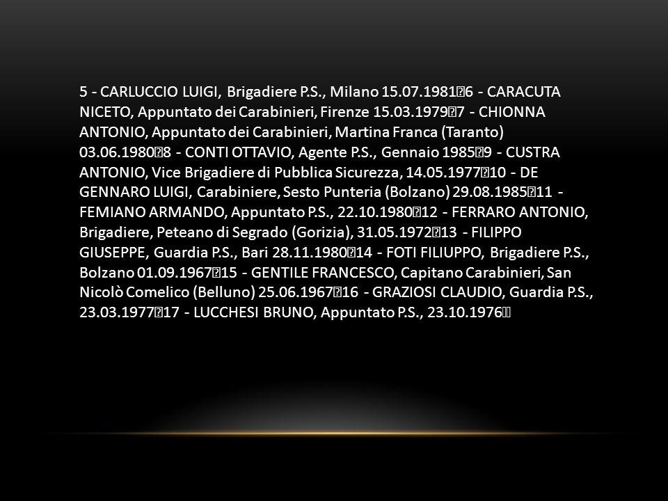 5 - CARLUCCIO LUIGI, Brigadiere P. S. , Milano 15. 07