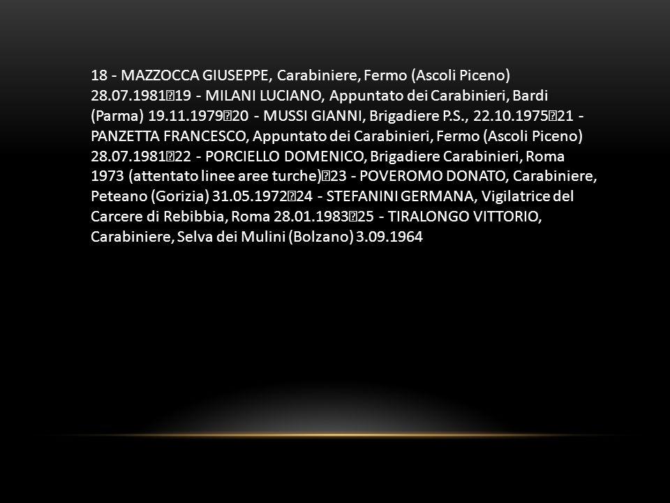 18 - MAZZOCCA GIUSEPPE, Carabiniere, Fermo (Ascoli Piceno) 28. 07