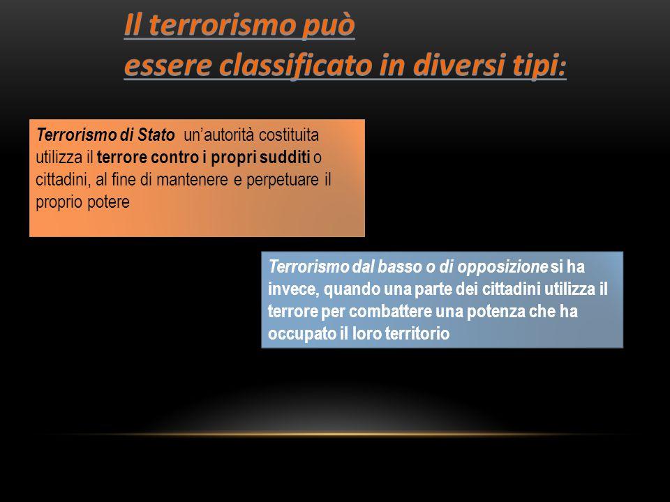 Il terrorismo può essere classificato in diversi tipi: