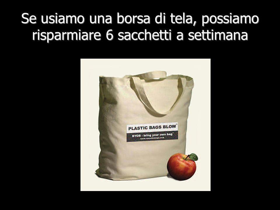 Se usiamo una borsa di tela, possiamo risparmiare 6 sacchetti a settimana