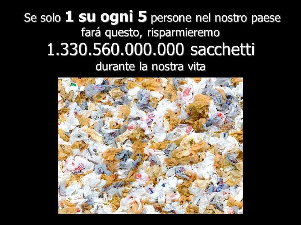 Se solo 1 su ogni 5 persone nel nostro paese fará questo, risparmieremo 1.330.560.000.000 sacchetti durante la nostra vita