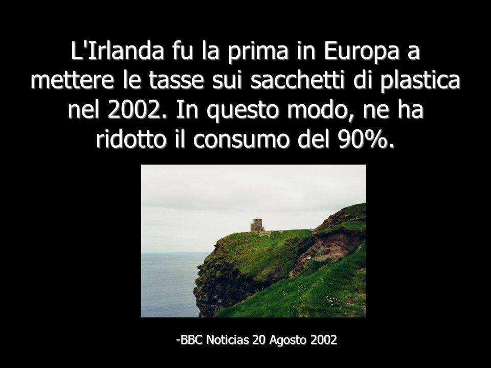 L Irlanda fu la prima in Europa a mettere le tasse sui sacchetti di plastica nel 2002. In questo modo, ne ha ridotto il consumo del 90%.