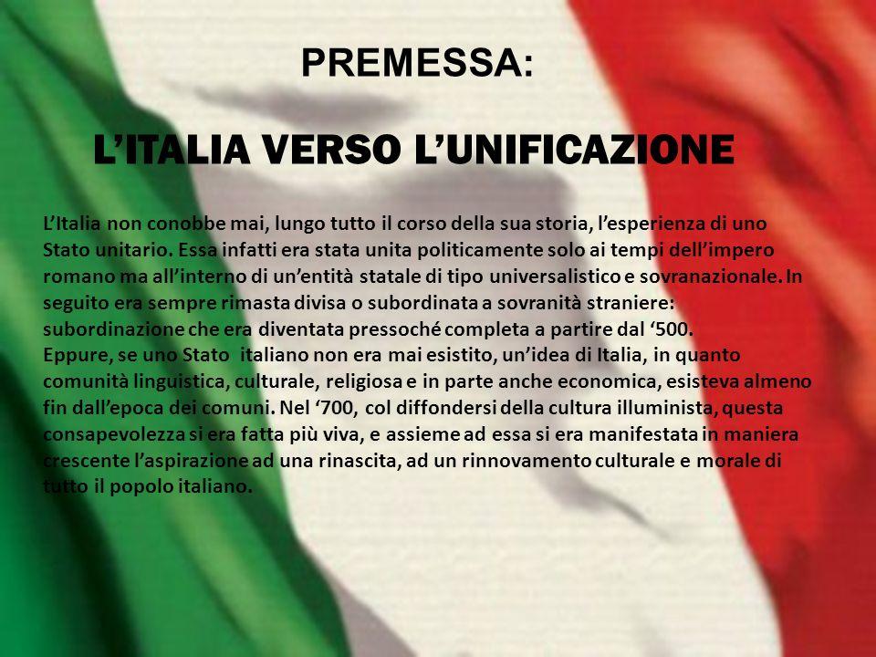 L'ITALIA VERSO L'UNIFICAZIONE