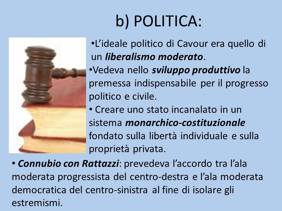 b) POLITICA:L'ideale politico di Cavour era quello di un liberalismo moderato.