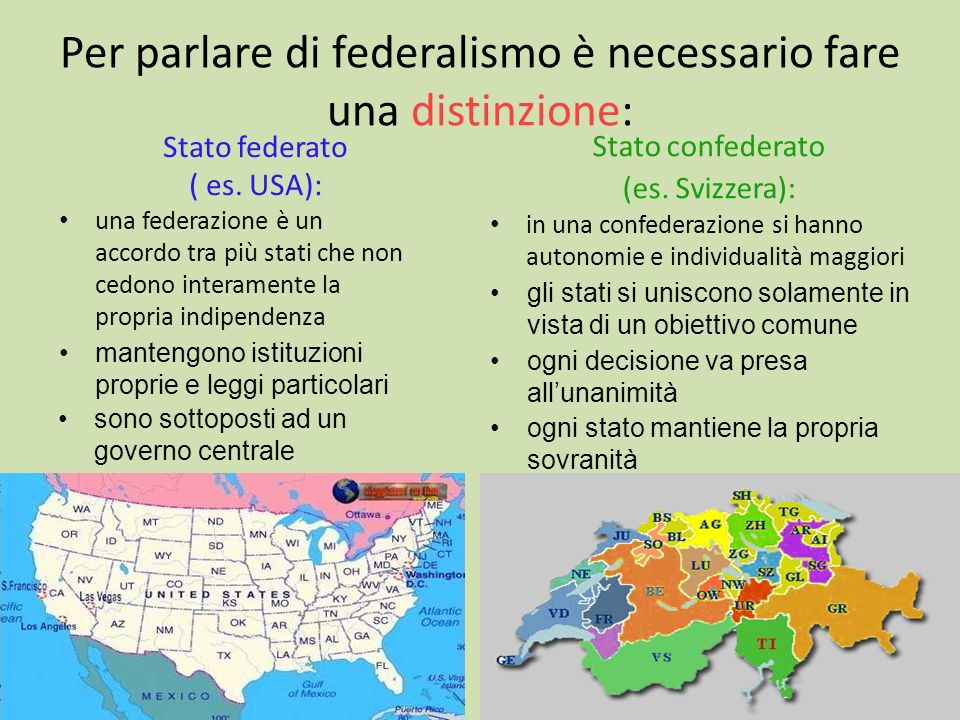 Per parlare di federalismo è necessario fare una distinzione:
