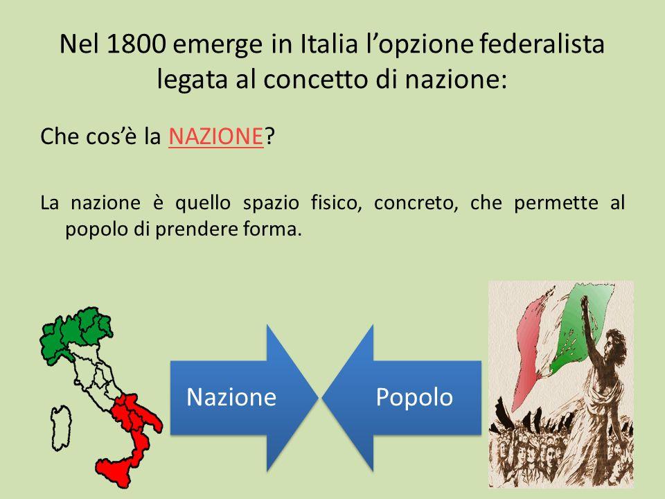 Nel 1800 emerge in Italia l'opzione federalista legata al concetto di nazione: