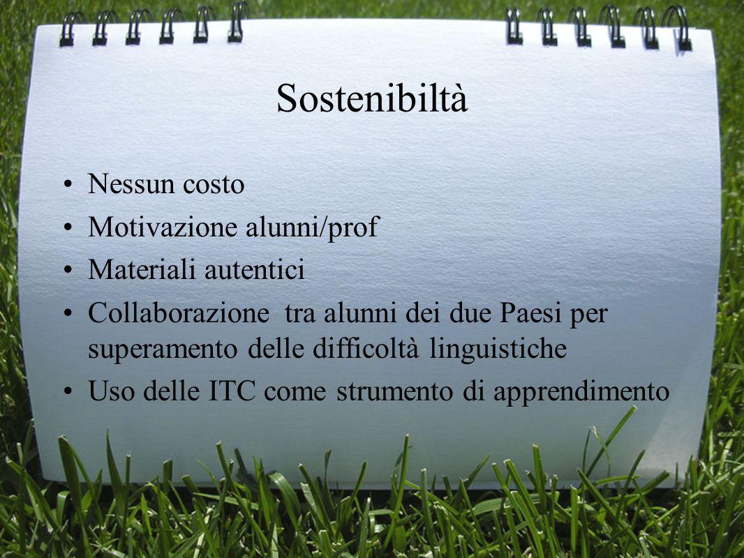 Sostenibiltà Nessun costo Motivazione alunni/prof Materiali autentici
