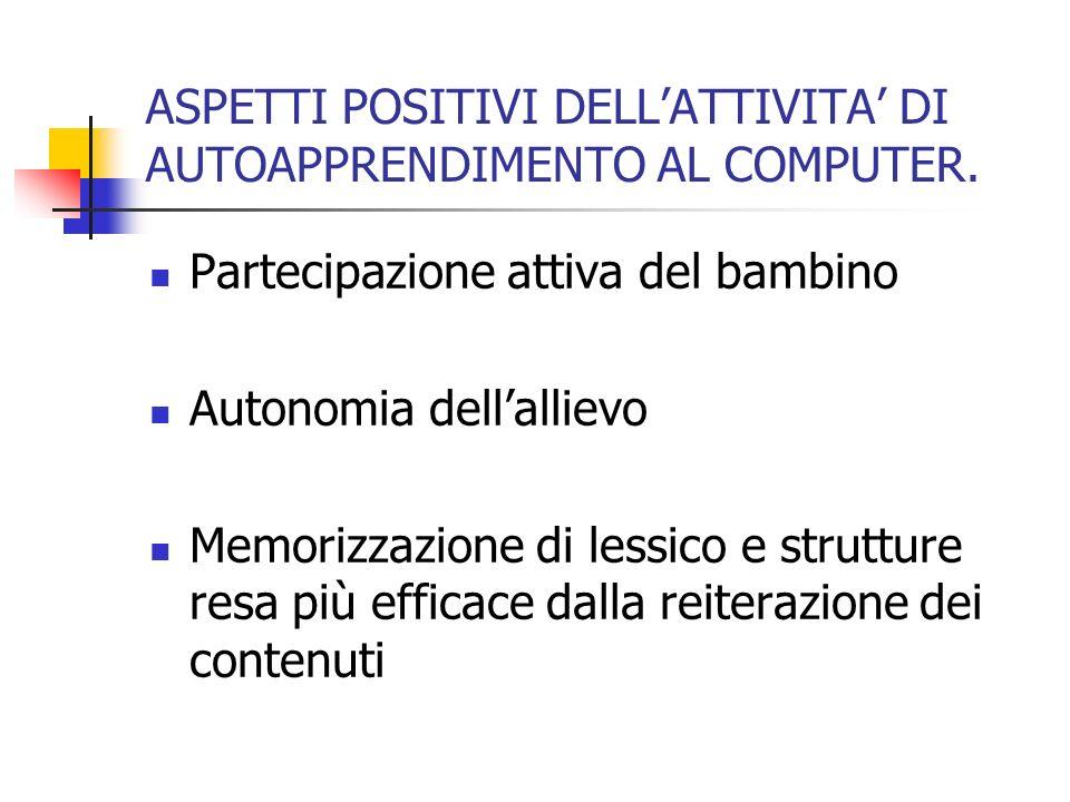 ASPETTI POSITIVI DELL'ATTIVITA' DI AUTOAPPRENDIMENTO AL COMPUTER.