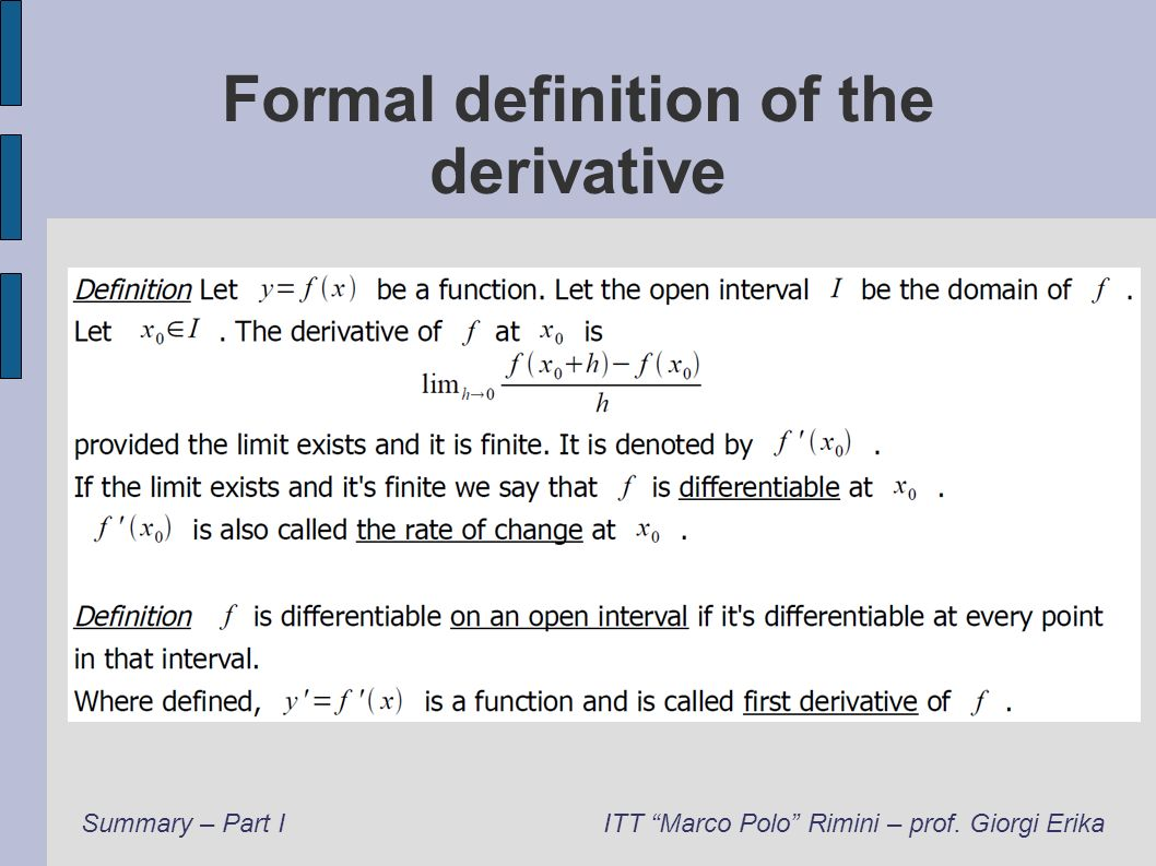 Formal definition of the derivative
