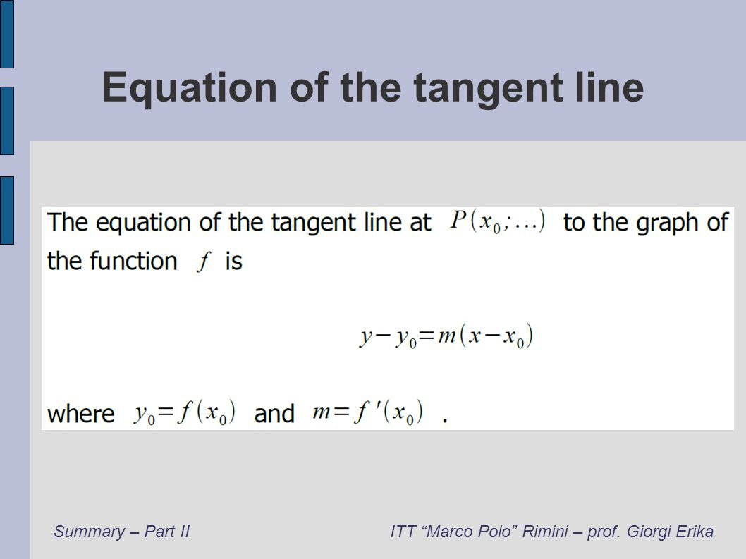 Equation of the tangent line