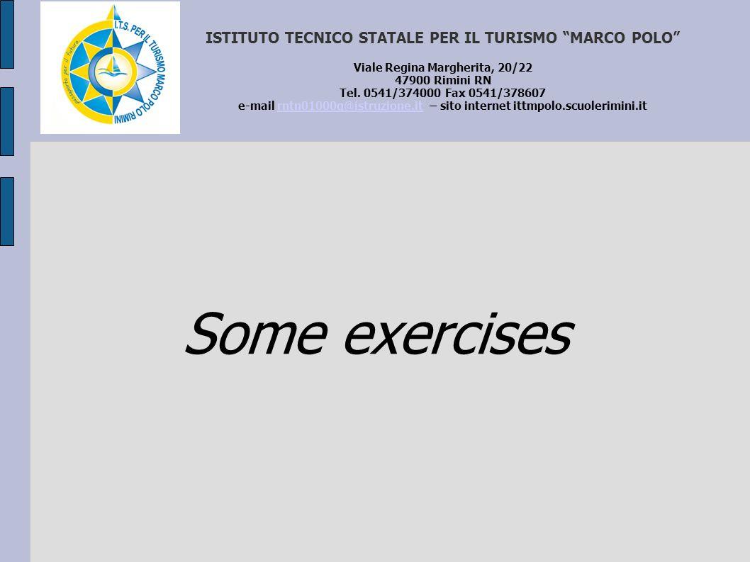 ISTITUTO TECNICO STATALE PER IL TURISMO MARCO POLO Viale Regina Margherita, 20/22 47900 Rimini RN Tel. 0541/374000 Fax 0541/378607 e-mail rntn01000q@istruzione.it – sito internet ittmpolo.scuolerimini.it