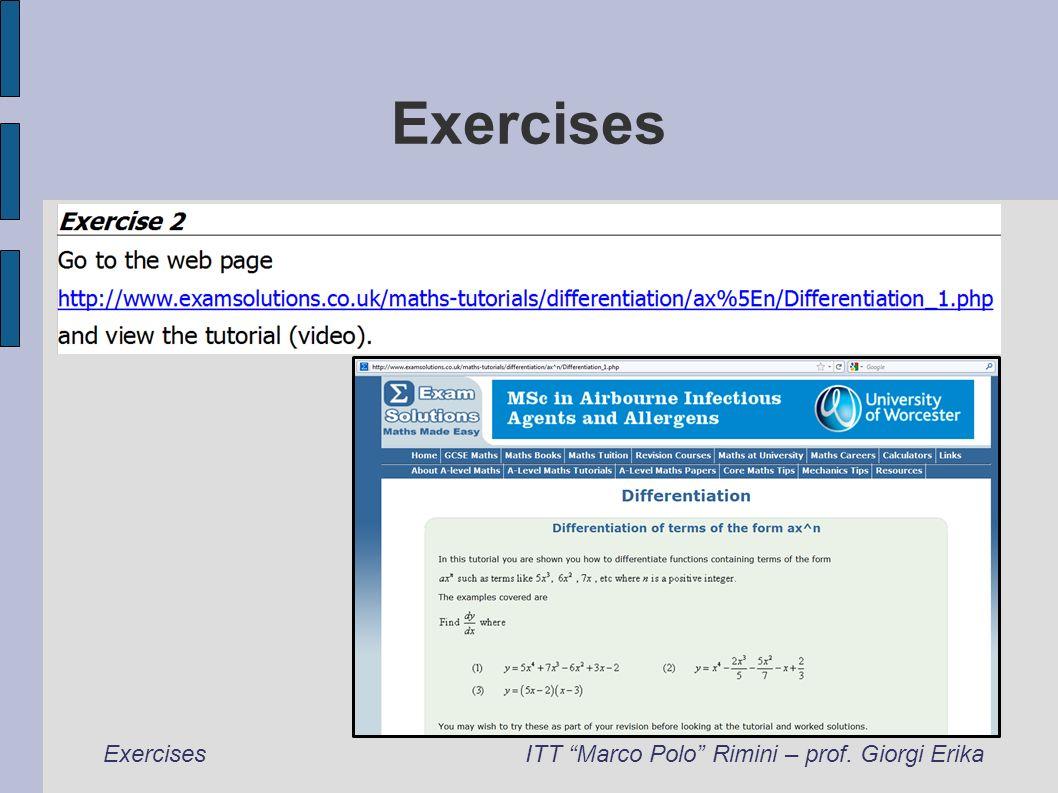 Exercises ITT Marco Polo Rimini – prof. Giorgi Erika