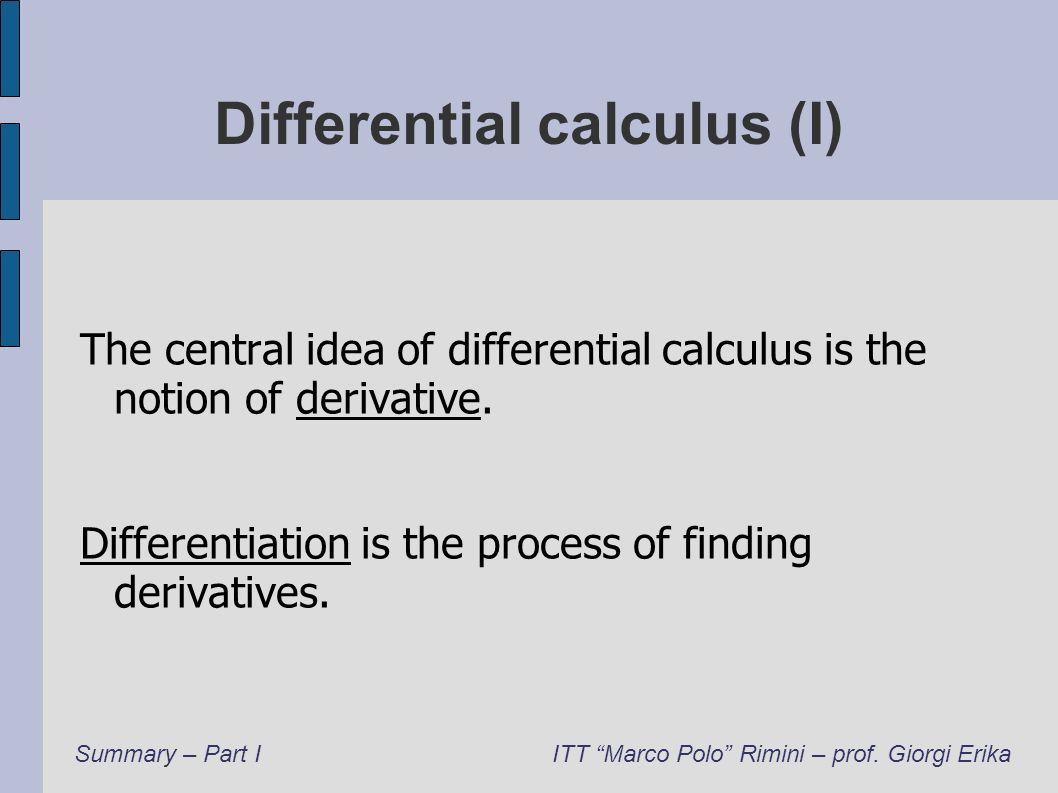 Differential calculus (I)