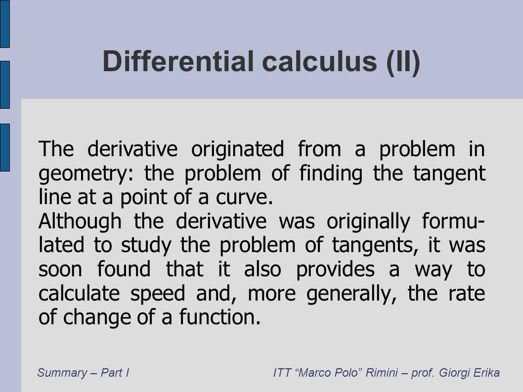Differential calculus (II)