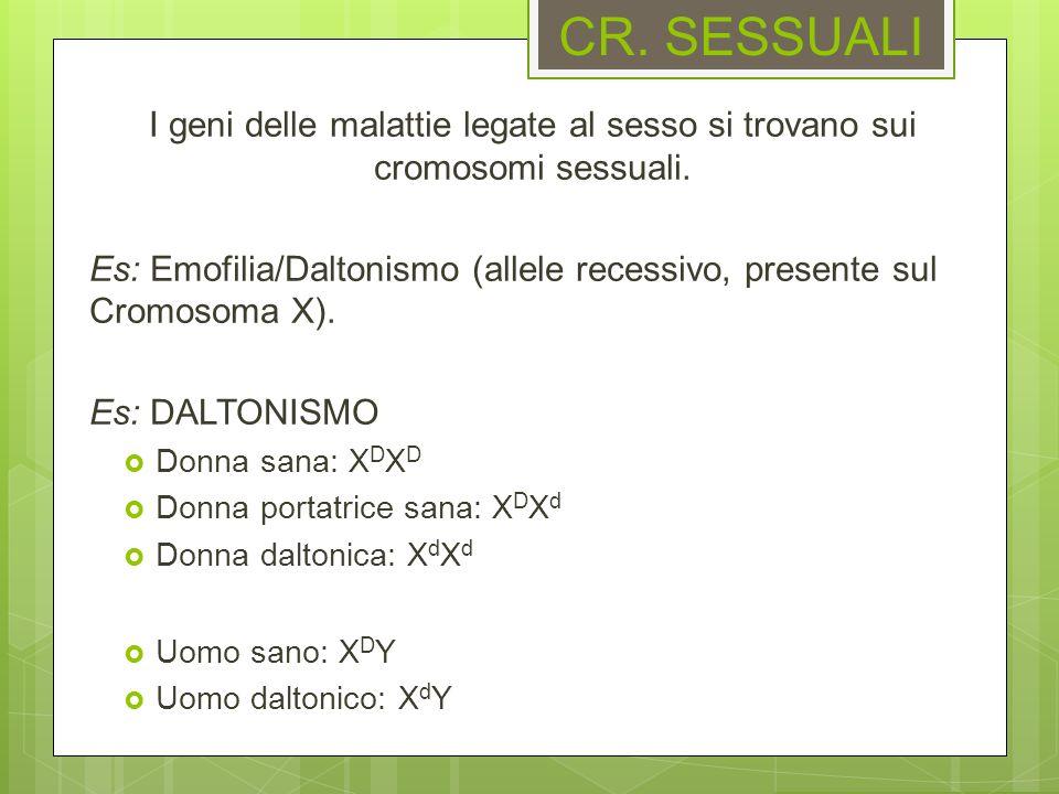 CR. SESSUALI I geni delle malattie legate al sesso si trovano sui cromosomi sessuali.