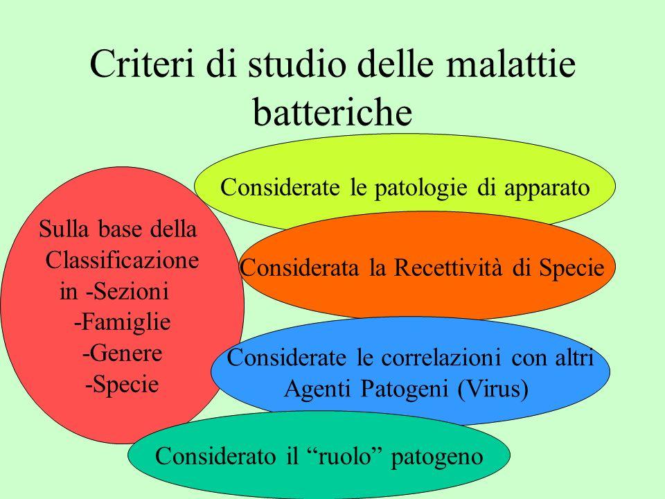 Criteri di studio delle malattie batteriche