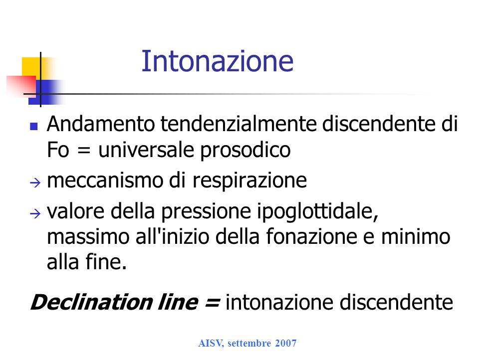 Intonazione Andamento tendenzialmente discendente di Fo = universale prosodico. meccanismo di respirazione.