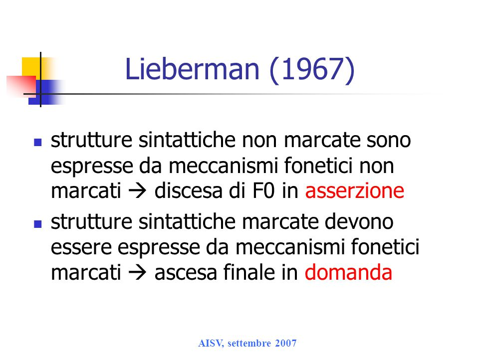 Lieberman (1967) strutture sintattiche non marcate sono espresse da meccanismi fonetici non marcati  discesa di F0 in asserzione.