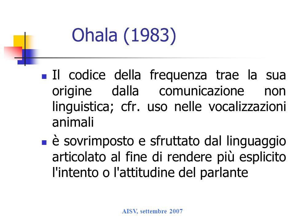 Ohala (1983) Il codice della frequenza trae la sua origine dalla comunicazione non linguistica; cfr. uso nelle vocalizzazioni animali.