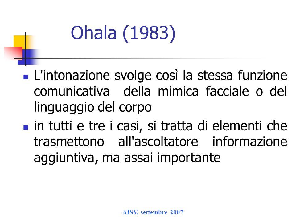 Ohala (1983) L intonazione svolge così la stessa funzione comunicativa della mimica facciale o del linguaggio del corpo.