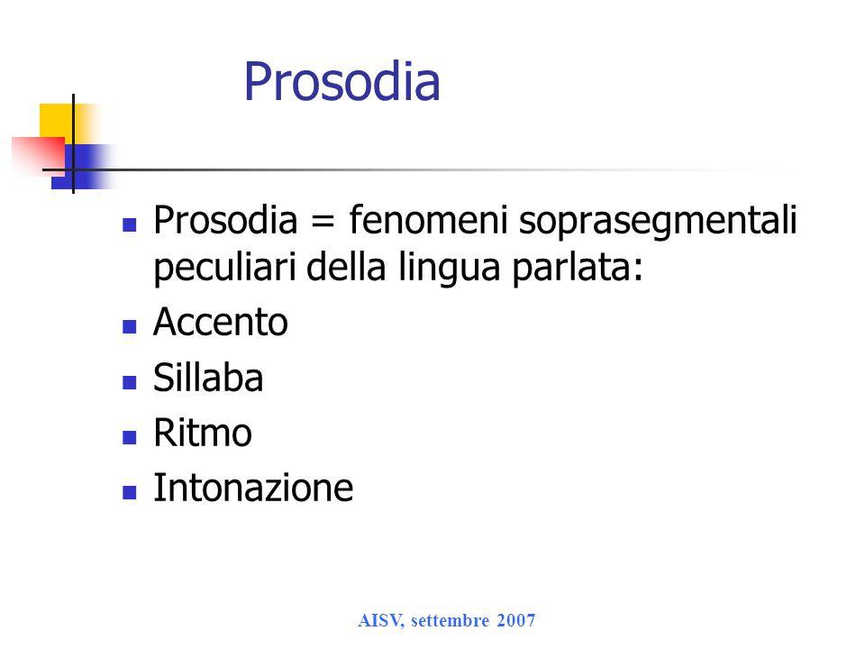 Prosodia Prosodia = fenomeni soprasegmentali peculiari della lingua parlata: Accento. Sillaba. Ritmo.