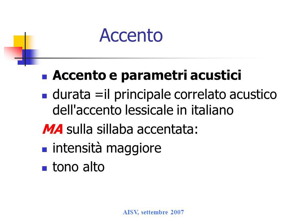 Accento Accento e parametri acustici