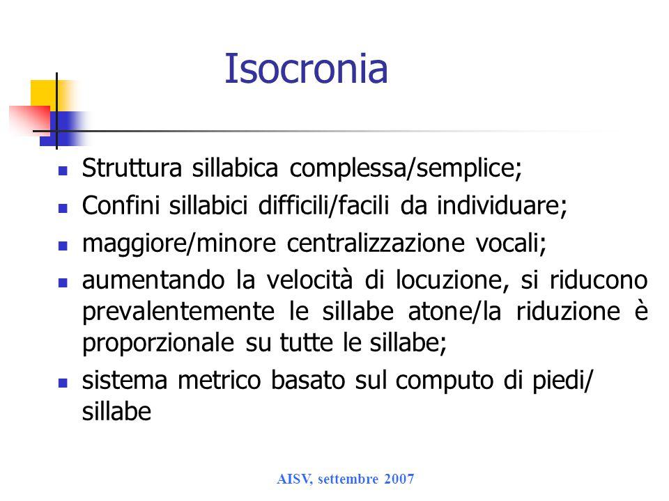 Isocronia Struttura sillabica complessa/semplice;