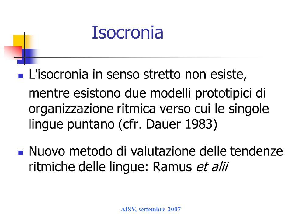 Isocronia L isocronia in senso stretto non esiste,
