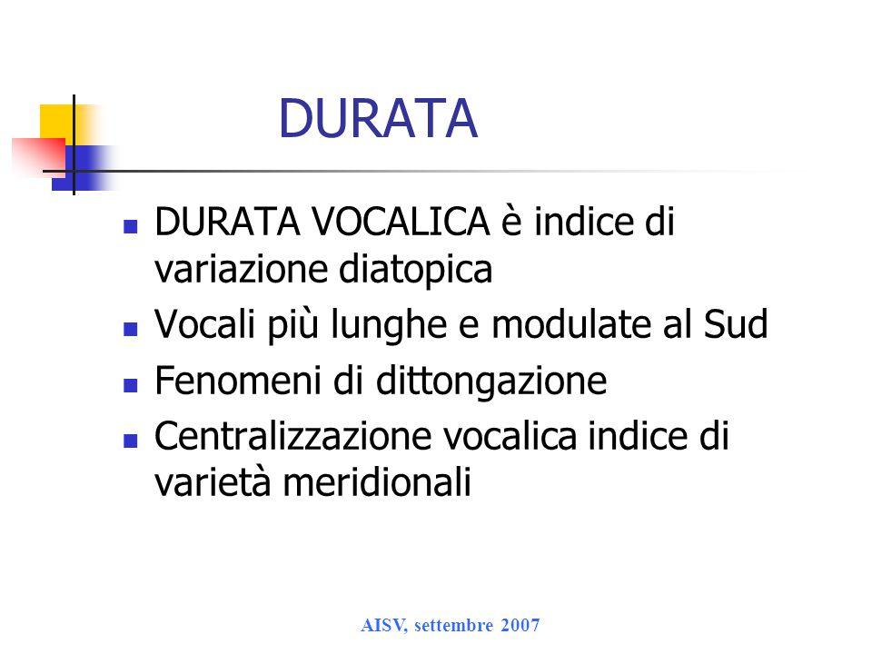 DURATA DURATA VOCALICA è indice di variazione diatopica