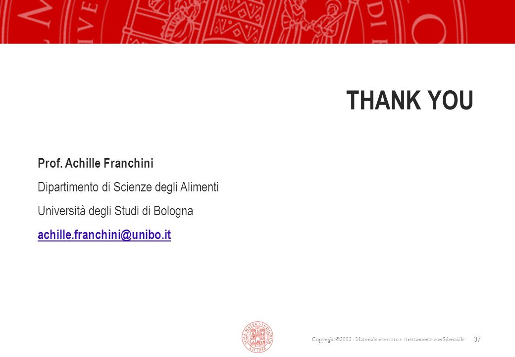 THANK YOU Prof. Achille Franchini