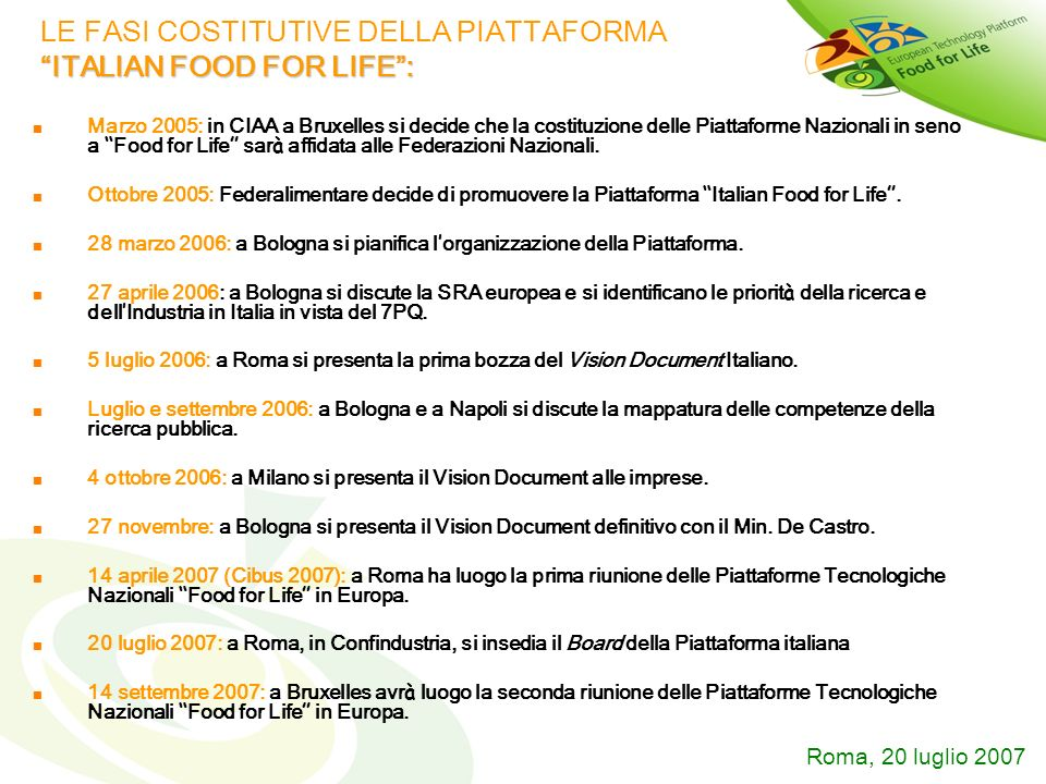 LE FASI COSTITUTIVE DELLA PIATTAFORMA ITALIAN FOOD FOR LIFE :