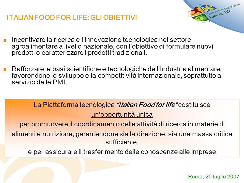 ITALIAN FOOD FOR LIFE: GLI OBIETTIVI