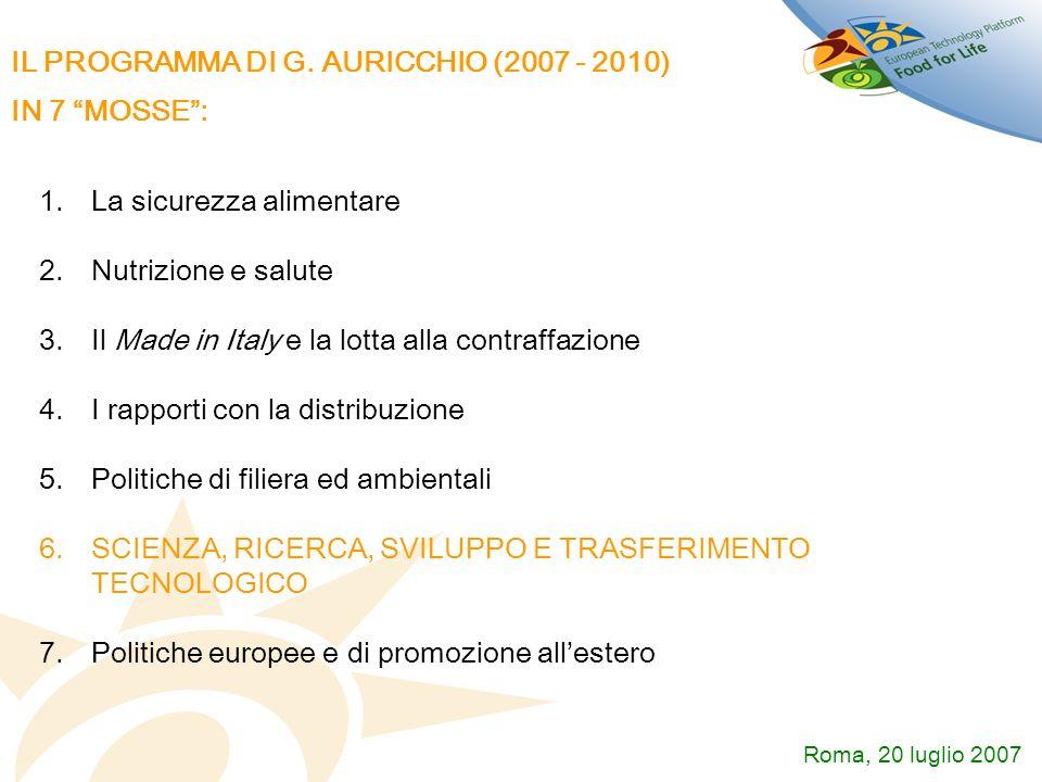 IL PROGRAMMA DI G. AURICCHIO (2007 - 2010) IN 7 MOSSE :