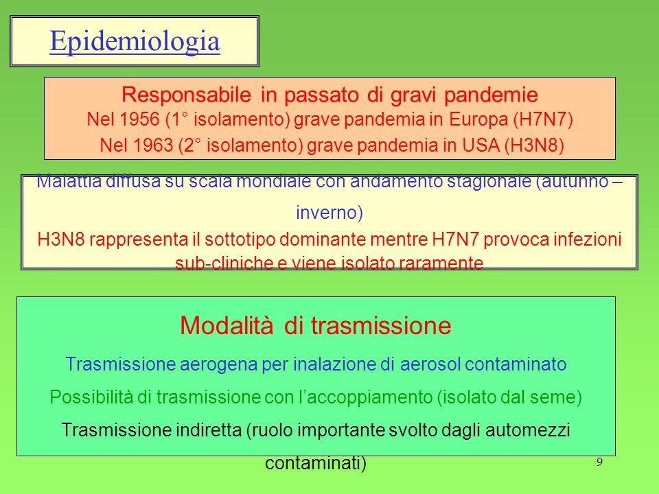 Epidemiologia Modalità di trasmissione