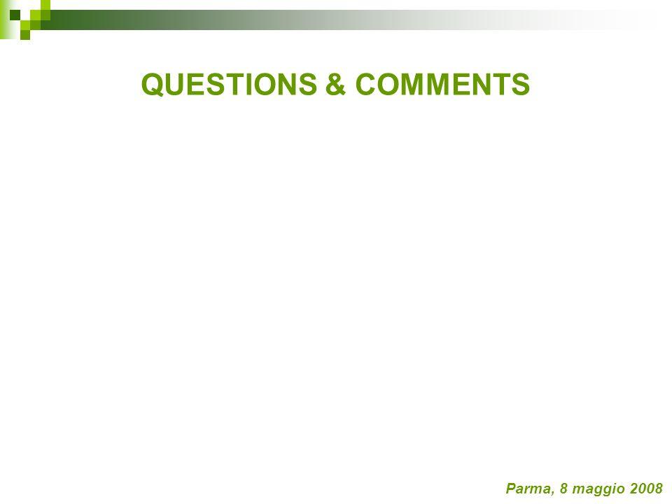 QUESTIONS & COMMENTS Parma, 8 maggio 2008