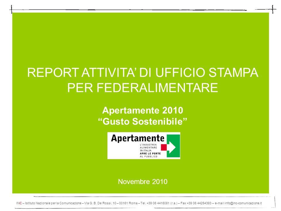 REPORT ATTIVITA' DI UFFICIO STAMPA