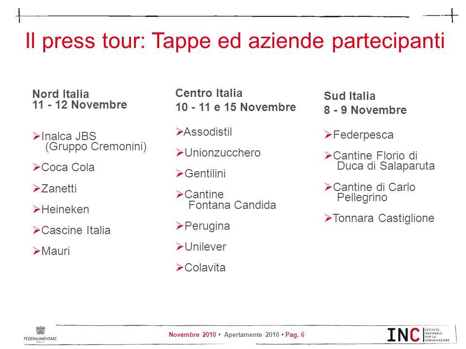 Il press tour: Tappe ed aziende partecipanti