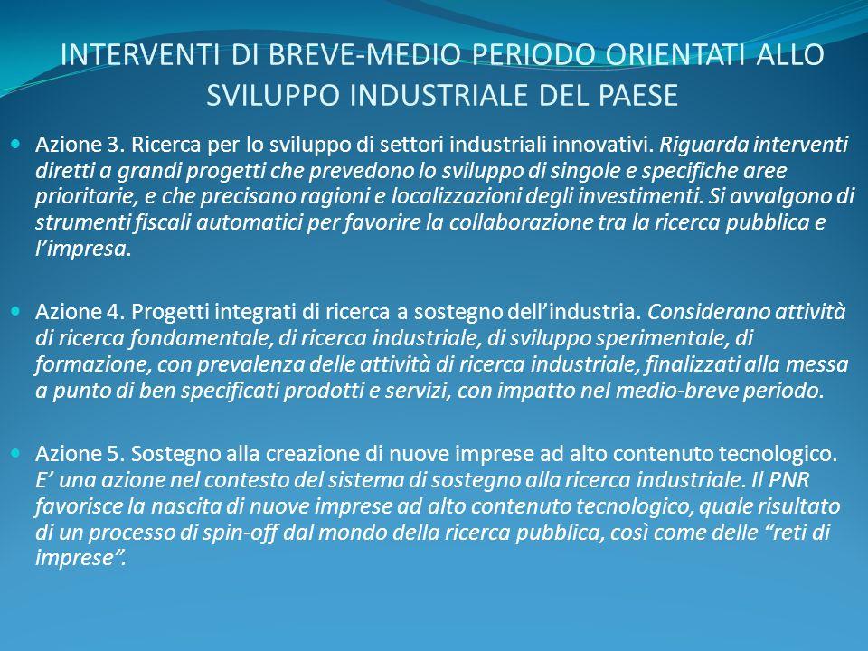 INTERVENTI DI BREVE-MEDIO PERIODO ORIENTATI ALLO SVILUPPO INDUSTRIALE DEL PAESE